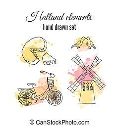 windmill., ベクトル, アムステルダム, netherlands, オランダ, elements., 自転車, 装飾用である, illustrations.