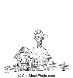 windmill., 農場の家