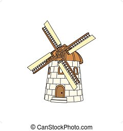 3D windmill vector illustration isolated on white background.
