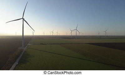 Windmill. A field with windmills. Aerial view.