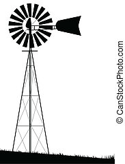 A small water pump windmill isolated over white.
