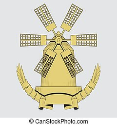 windmill. Agriculture, farming, bakery logo or label. Vintage vector illustration