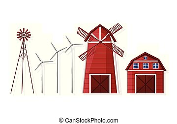 Windmill and farm house set Vector flat style collections