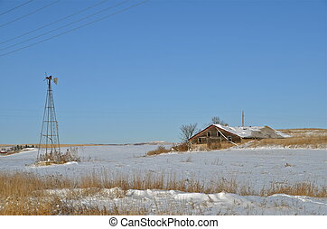 Windmill and old Shed on Prairie