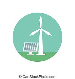 windmill and panel solar energy environmental
