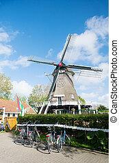 windmill at Dutch wadden island Terschelling village Formerum
