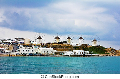 Windmill at Mykonos. - A panorama picture of the fife ...