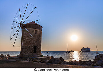 windmill at Rhodes Greece