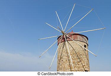 Windmill at Rhodes island in Greece