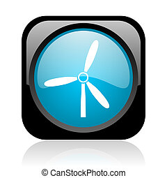 windmill black and blue square web glossy icon