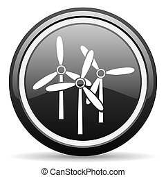 windmill black glossy icon on white background