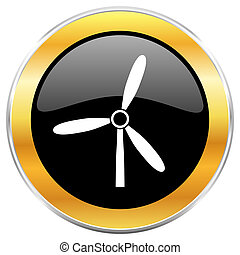 Windmill black web icon with golden border isolated on white background. Round glossy button.