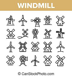 Windmill Building Collection Icons Set Vector