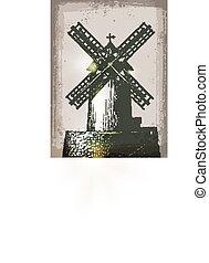 Windmill building in retro style. Hand Drawn Illustration
