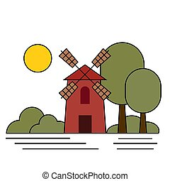 Windmill, bushes, trees and sun.  Vector illustration ...