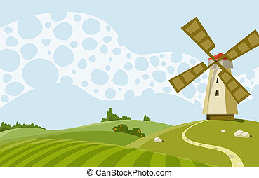 Windmill - Cartoon Illustration a landscape with a windmill