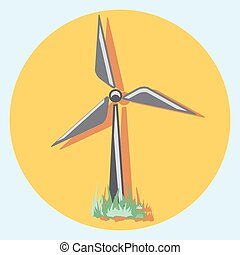 windmill circle icon with shadow.eps