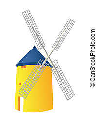windmill - yellow house with windhill isolate on the white...