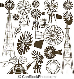 A clip art collection of various windmills