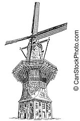Windmill De Gooyer in Amsterdam (Netherlands, Holland) isolated hand drawing vector illustration in black color on white background