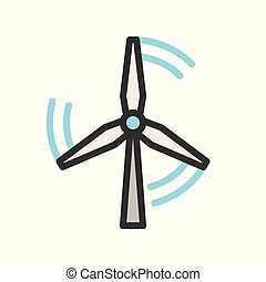 Windmill energy, filled outline Flat icon clean energy concept