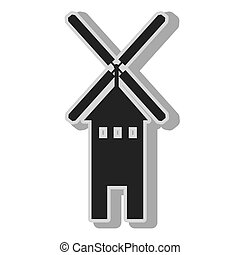 Windmill farm eolic , isolated flat icon with black and...