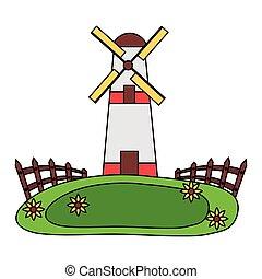 windmill fence grass farm