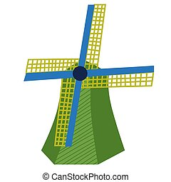 Windmill flat color illustration on white