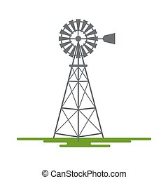 Windmill Flat Design Vector Symbol Isolated on White Background