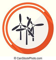 Windmill flat design vector web icon. Round orange internet button isolated on white background.