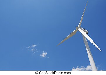 windmill for renewable electric energy production with blue sky