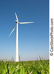 Windmill for wind energy in grass