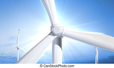 Windmill front view - 3d render animation with alpha channel