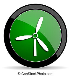 windmill green web glossy icon with shadow on white background