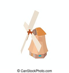 Windmill icon, cartoon style