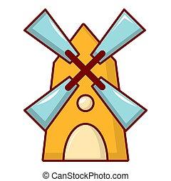 Windmill icon, cartoon style