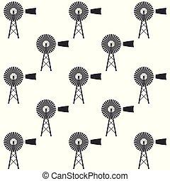 Windmill icon seamless pattern on white background. Flat design. Vector Illustration