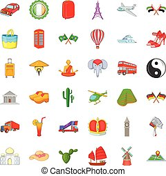 Windmill icons set, cartoon style