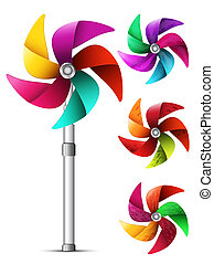 Windmill - Vector illustration of colorful pinwheel toy.