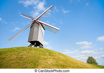 Windmill in Bruges, Belgium - Wooden windmill in Bruges,...