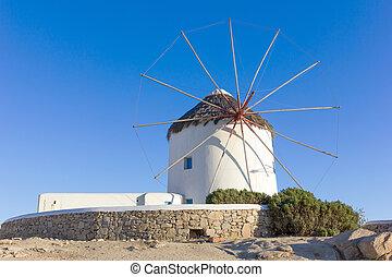 windmill in Mykonos Island, Greece