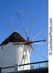 Windmill in Mykonos town, Greece