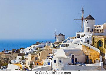 Windmill in Oia at Santorini, Greece