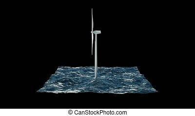 Windmill in sea isolated on black. 3D rendering 4K -...