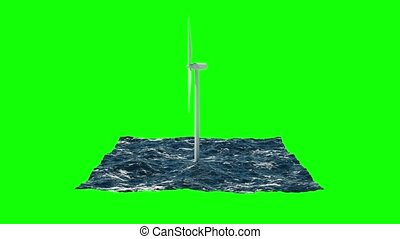 Windmill in sea isolated on green. 3D rendering 4K -...