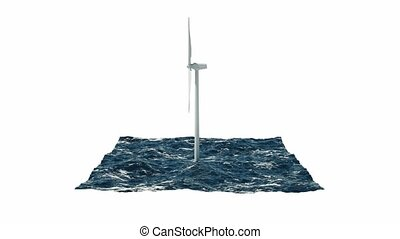 Windmill in sea isolated on white. 3D rendering 4K -...