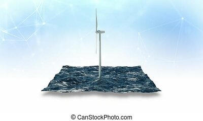 Windmill in sea on sky background. 3D 4K - Windmill in sea...