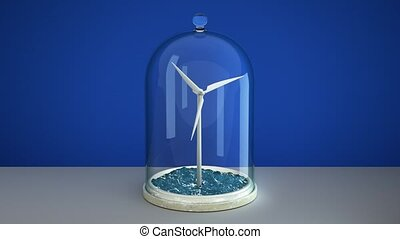 Windmill in sea under glass bulb on table . 3D 4K - Windmill...