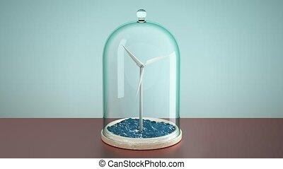 Windmill in sea under glass bulb on table . 3D 4K - Windmill...