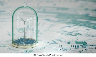Windmill in sea under glass bulb on water . 3D 4K - Windmill...